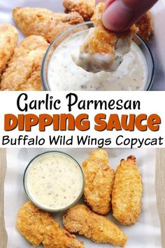 delicious version of Buffalo Wild Wings Garlic Parmesan Dipping Sauce. This creamy sauce is full of complex flavors that would go great with chicken, chicken wings or as a salad dressing. Chicken Wing Dipping Sauce, Garlic Dipping Sauces, Chicken Wing Sauces, Chicken Wing Recipes, Buffalo Wings Dipping Sauce Recipe, Sauce For Chicken Wings, Chicken Creamy Sauce, Dips With Chicken, Sauce For Wings