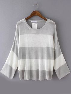 Romwe Long Sleeve Striped Open-Knit Grey Sweater