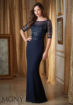 Evening Gowns and Mother of the Bride Dresses by MGNY Beaded Bands on  Chiffon Colors available 9c867371f70e
