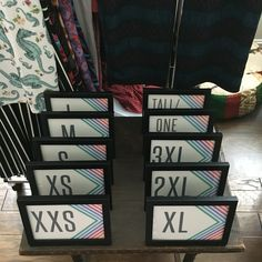 Creating your in home LuLaRoe Boutique. Use simple frames for your sizes and/or styles!