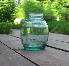 Soviet bank for honey Kitchen Vintage virid Small Glass jar Cask glass barrel USSR green Antique pot Kitchen Art Decor Cottage Chic