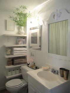 Storage idea for small bathroom ~ attractive open shelving