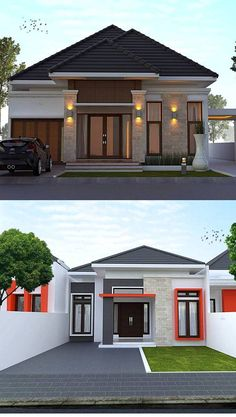 Design Discover 20 Small House Designs that Will Mesmerize You Modern Bungalow House Design, Modern House Facades, Duplex House Design, Simple House Design, Bungalow House Plans, House Front Design, Design Your Dream House, Minimalis House Design, Layouts Casa