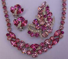 "Christmas Sale 15% Off, Vintage Eisenberg Signed, Pink Rhinestone Necklace, Earrings, Pin / Brooch Set. ""PRETTY IN PINK"". $345.00, via Etsy."