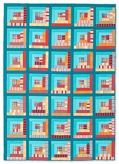 Build 'em Up, Knock 'em Down, log cabin quilt by Marilyn Dillon. Stripes and plaids.  2014 silent auction.  Salvage/Selvedge project.