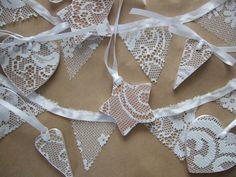 lacy decorations Wedding Car Ribbon, Lace Wedding, Felt Ornaments, Christmas Ornaments, Mini Bunting, Types Of Lace, Lace Ribbon, Handmade Christmas, Handicraft