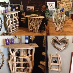"""Check out our awesome new artist! drouillards driftwood He makes amazing pieces of furniture, sculptures, shelves etc...stop by Swankyz """"Good """"Goods to see his works!"""