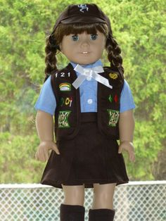 """Brownie Girl Scout Uniform Outfit 5 PC Set Fits 18"""" American Girl Doll 