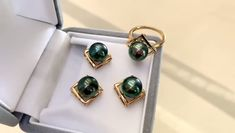 Tahitian Pearl Earrings, Tahitian Pearls, Pearl Pendant, Pearl Jewelry, 9 And 10, Hawaiian, 18k Gold, Cufflinks, Stud Earrings