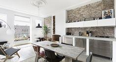 Renovatie van een oud herenhuis in Amsterdam / Amsterdam renovation / barren stone walls - industrial kitchen - concrete sink - wood burner