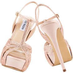 Steve Madden soft blush satin Allly platform stiletto sandals via Polyvore
