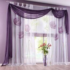 Urijk 1Pc Purple Curtains Tulle Panel Sheer Window Curtains For Bedroom Floral Perspective Window Blinds Curtain For Living Room