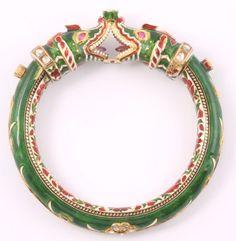 Ruby and Diamond Makara Bracelet, India