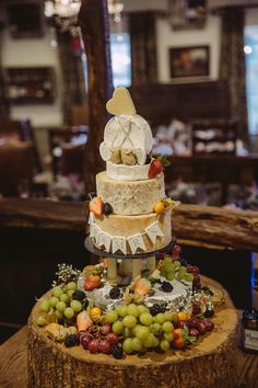 Cheese Tower Cake Fruit Simple Cosy Country Winter Wedding http://hayleybaxterphotography.com/
