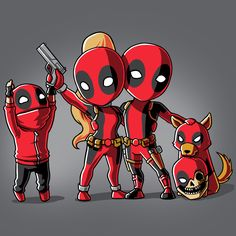 Deadpool Family Portrait - This official Marvel t-shirt featuring Kidpool, Lady Deadpool, Deadpool, Dogpool, and Headpool is only available at TeeTurtle!