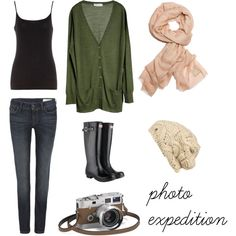 I have an outfit just like this,with my favorite boots...minus the camera and the drab green...change the green to purple and its mine!
