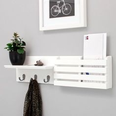 "Kiera Grace Sydney 24"" Wall Shelf and Mail Holder with 3 Metal Hooks, White - Walmart.com"