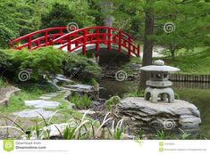 Red Bridge In Japanese Garden Stock Image   Image Of Bridge, Reflection:  19318235 #