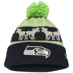 5d60c56ea89 Seattle Seahawks New Era Mooser Cuffed Knit Beanie w Pom – Navy Blue Neon