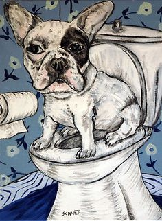 french bulldog in the bathroom dog art print 8x10
