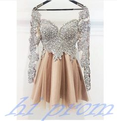 Long Sleeves Silver Champagne Cute Homecoming Dress,Vintage Short Prom Dress Homecoming Dresses,Short Party Prom Gowns For Teens Junior Girls Champagne Homecoming Dresses, Vintage Homecoming Dresses, Long Sleeve Homecoming Dresses, Hoco Dresses, Dresses For Teens, Dance Dresses, Sexy Dresses, Vintage Dresses, Beautiful Dresses