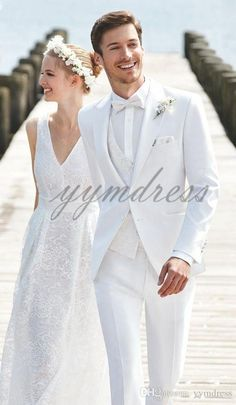 2015 italian gold embroidery white wedding suit for men stand collar mens suits bridegroom one button three piece suit (jacket pants vest). bridegroom (jacket pant tie vest) 1 best service with high q. Suits Men White Wedding Suit For Men White Wedding Suits For Men, White Tuxedo Wedding, Beach Wedding Suits, All White Wedding, White Suits, Wedding Attire, Man Suit Wedding, Mens White Suit, Wedding Tuxedos