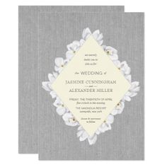 Trendy Gray Canvas White Floral Magnolia wedding Card - wedding invitations cards custom invitation card design marriage party
