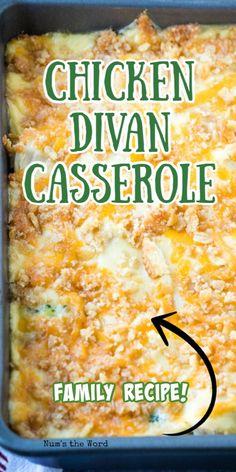 Leftover Chicken Recipes, Easy Chicken Recipes, Chicken Divan Recipe Easy, Broccoli Chicken Divan, Easy Casserole Recipes, Casserole Dishes, Noodle Casserole, Chicken Divan Casserole, Rotisserie Chicken Casserole Recipe