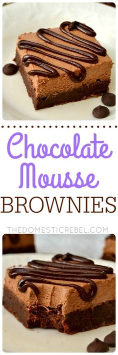 Chocolate Mousse Brownies: fudgy one-bowl brownies topped with a super simple light & fluffy chocolate mousse. So impressive, so fudgy, so fabulous!