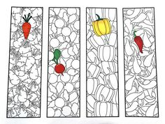 One PDF coloring page of 4 bookmarks with different vegetable designs! Each bookmark is 2 inches wide and 7 inches tall. Simply color the bookmarks and cut them out! Cute Coloring Pages, Coloring Books, Vegetable Design, Cool Fonts, Animal Design, Printable Coloring, Colorful Pictures, As You Like, Diy For Kids