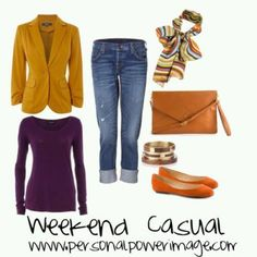 A perfect DYT Type 3 outfit combo! Mustard yellow, purple, and orange, paired with jeans and gold jewelry.