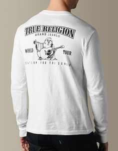 Add the Logo Slub Tee Crew Neck Tee to your collection for a staple True Religion look. This simple shirt in basic white features a Buddha label...