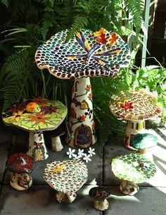 Some of the gorgeous mushrooms that have sprung up in my gallery Mosaic Art, Mosaics, Mosaic Designs, Wall Plaques, Kara, Garden Art, Mushrooms, Original Art, Gallery