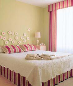 Colores para Decorar: Con que colores combina pared verde en dormitorios