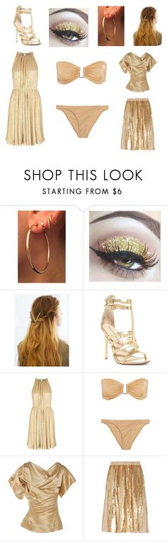 """Golden"" by christina-j-whelan ❤ liked on Polyvore featuring WithChic, Chinese Laundry, Halston Heritage, Melissa Odabash, Vivienne Westwood and TIBI"