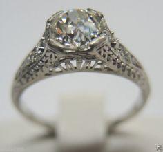 Antique Mine Diamond Engagement Ring Platinum Solitaire Vintage Art Deco Bridal Ring Size ~ 5 UK-J1/2.
