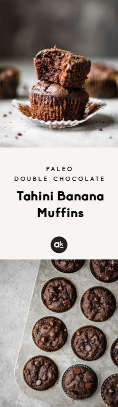 Double chocolate tahini banana muffins that are both paleo, dairy free and gluten free. These healthy chocolate muffins are the perfect treat to pack in a lunch box or share with friends! #paleo #chocolate #baking #healthyrecipes #muffins #glutenfreerecipes