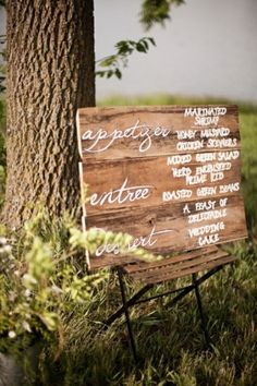 interesting way to do a menu - wedding ideas