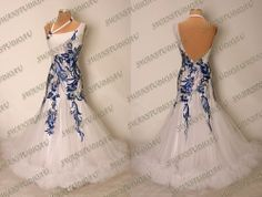 NEW NEED TO CUSTOMIZE WHITE STIFF NET BALLROOM DANCE COMPETITION DRESS
