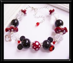Minnie and Mickey Lampwork Sterling Silver Bracelet
