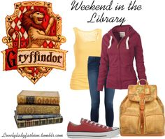 """Weekend in the Library - Gryffindor"" by nearlysamantha on Polyvore"