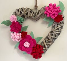 Items similar to Wicker Heart Door Wall Wreath Art, felt flowers on Etsy Wicker Hearts, Wooden Hearts, Felt Wall Hanging, Heart Wreath, Door Wall, Felt Hearts, Handmade Felt, Felt Flowers, Wall Hangings