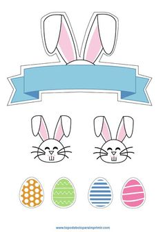 Printable Labels, Printables, Easter Baskets, Cake Toppers, Cake Decorating, Crafts For Kids, Rabbit, Alice, Creations