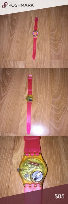 Vintage Swatch watch Vintage Swatch watch in great condition! My sister bought it for an 80s costume party and it was worn once. A few minor dulled scratches on the face but they are not noticeable- see pics  Coachella neon boho vintage hipster Urban Outfitters Swatch Accessories Watches