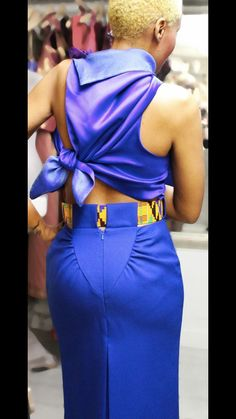 Clariscia Gill, CG Couture - kente belt worn with gathered pencil skirt and wrap top.