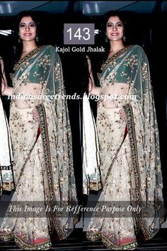 Buy Kajol Gold Jhalak Bollywood Saree Online: justforbuy.com