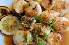 sous vide sea scallops with  meyer lemon glaze