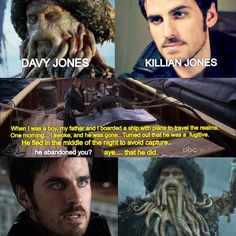 Davy Jones... Killian Jones. Pirate... Pirate. Coincidence. I think not. Father/son? I really hope Davy Jones is Hooks father. In the POTC films Davy removed he own heart and put it in a treasure chest- very Once Upon a Time-ish, would fit in nicely with theme.. & whirlwind of daddy issues.