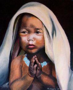 Bimbo in preghiera olio su tela 40x50