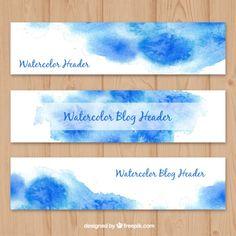 Blue watercolor blog headers  Free Vector